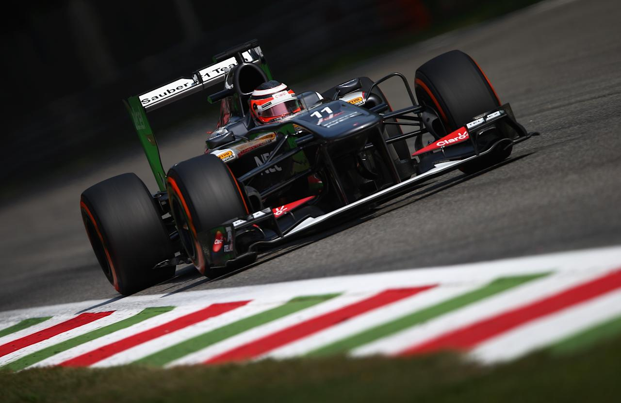 MONZA, ITALY - SEPTEMBER 07: Nico Hulkenberg of Germany and Sauber F1 drives during qualifying for the Italian Formula One Grand Prix at Autodromo di Monza on September 7, 2013 in Monza, Italy. (Photo by Clive Mason/Getty Images)