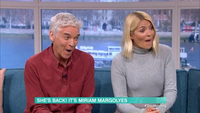 Phillip Schofield and Holly Willoughby were forced to apologise on Miriam Margolyes's behalf after she called herself a 't***' on 'This Morning' (ITV)
