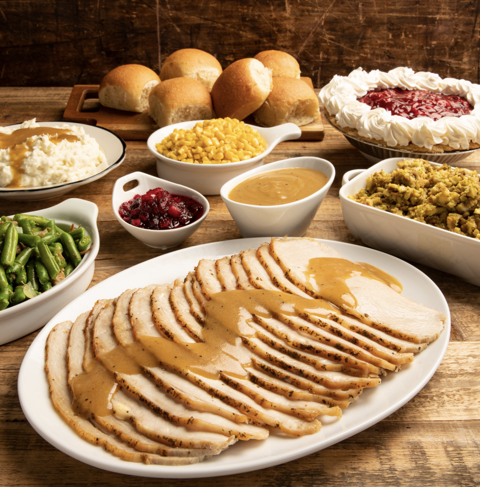"<p><a class=""link rapid-noclick-resp"" href=""https://www.bobevans.com/menu/farmhouse-feast"" rel=""nofollow noopener"" target=""_blank"" data-ylk=""slk:ORDER NOW"">ORDER NOW</a></p><p>If you'd like to do some cooking — but not too much — order a farmhouse feast meal from Bob Evans. The meal serves four and is packed cold, ready for reheating. Mains include sliced turkey breast or sliced ham; sides are bread and celery dressing, mashed potatoes, buttered sweet corn, green beans with ham, cranberry relish, gravy, rolls. Plus, there's a cherry pie dessert. Check out their site for even more Mother's Day specials. </p>"