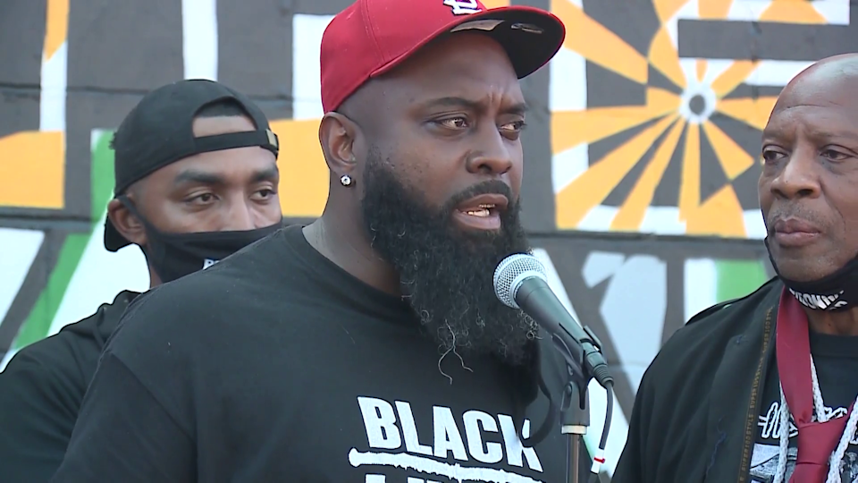 Michael Brown Sr. seen at a Breonna Taylor protest on Saturday, August 8, 2020, in Louisville, Kentucky. His son was killed six years ago by police in Ferguson, Missouri. / Credit: CBS affiliate WLKY-TV