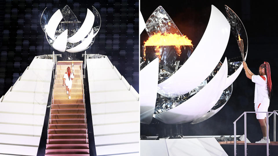 Naomi Osaka, pictured here becoming the first tennis player to light the Olympic cauldron at the opening ceremony.