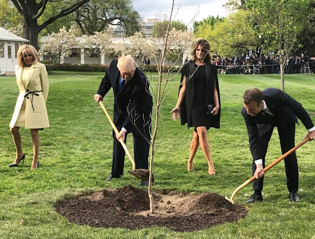 <p>U.S. President Donald Trump and French President Emmanuel Macron shovel dirt onto a freshly planted oak tree as Brigitte Macron and first lady Melania Trump watch during a tree planting ceremony on the South Lawn of the White House in Washington, April 23, 2018. (Photo: Steve Holland/Reuters) </p>