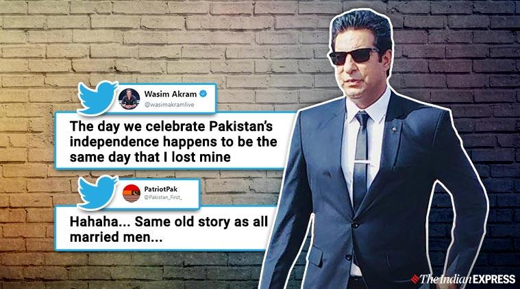 wasim akram pakistan independence viral tweet, wasim akram wedding anniversary pakistan independence twitter reactions, indian express, indian express news