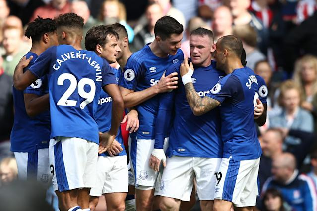 Everton celebrate taking the lead against Stoke