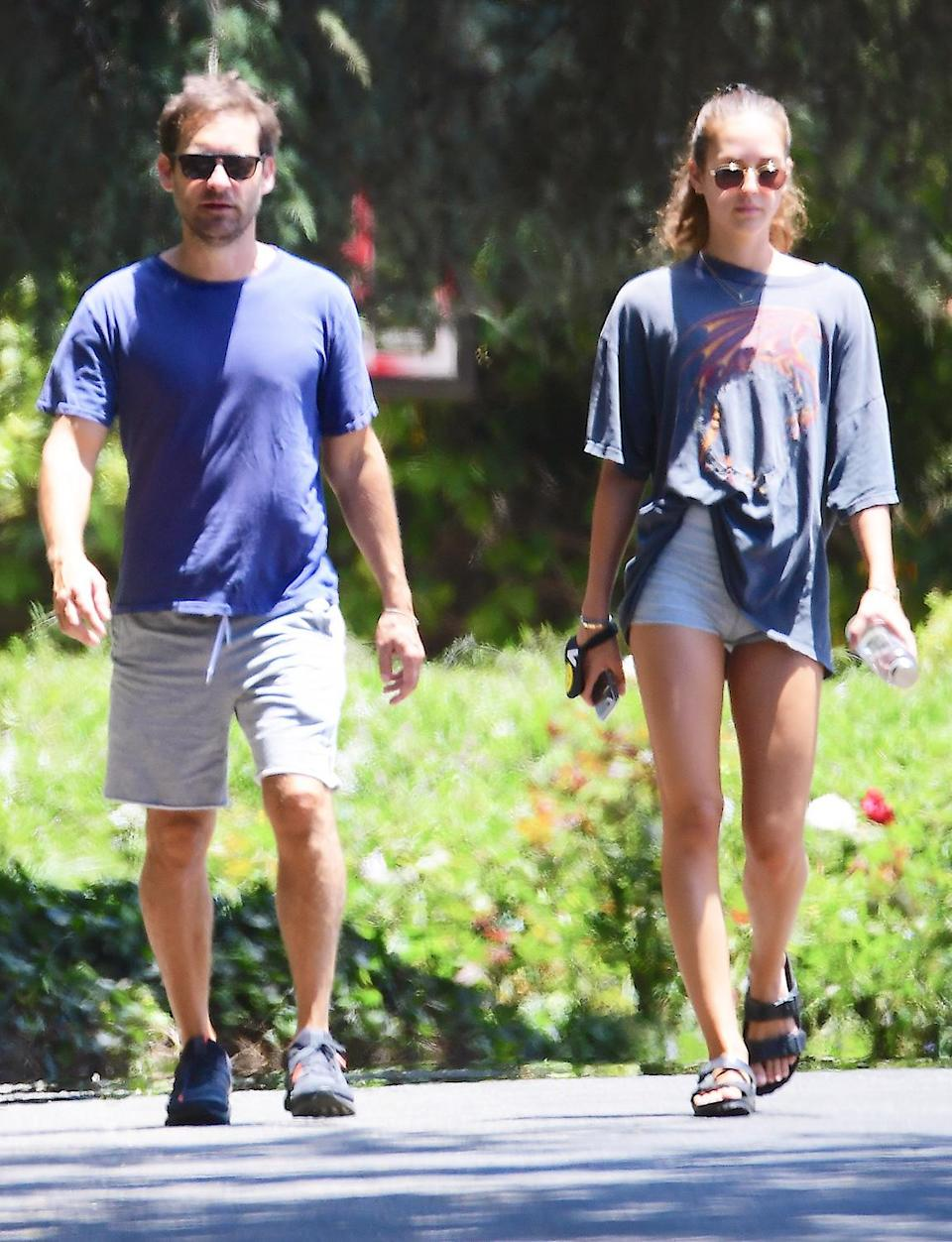 <p>Tobey Maguire and girlfriend Tatiana Dieteman take a walk on Monday in Brentwood, California. </p>