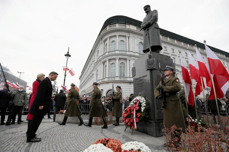 Polish President Duda attends a ceremony marking the National Independence Day in Warsaw