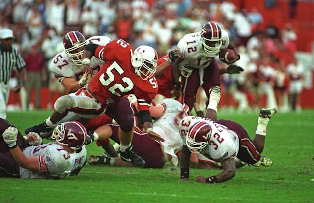 Ray Lewis (52) was the last linebacker available that the Ravens liked in the 1996 draft. Also in pursuit of him: The Packers. (Getty Images)