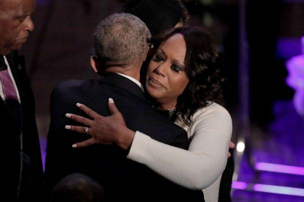 PHOTO: Maya Rockeymoore Cummings is greeted by former President Barack Obama during funeral services for her late husband, Rep. Elijah Cummings, at the New Psalmist Baptist Church, Oct. 25, 2019 in Baltimore. (Julio Cortez/Pool via Getty Images)