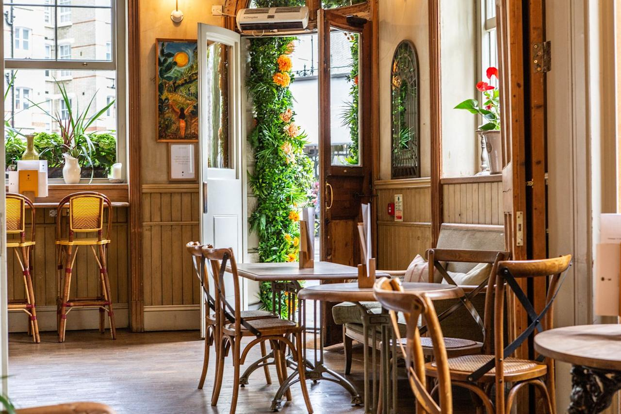 """<p>If sustainability is a high priority for you, The Orange on Pimlico Road has you covered. Awarded a Three Star Sustainability Rating (which is champion levels of sustainability, FYI), you get a true farm to fork experience here.</p><p>And as for what's on your fork, we love the sound of gathering our best mates together and tucking into the salt march lamb shoulder for four, followed by a hearty slice of Bramley apple pie complete with pecans, salted caramel and vanilla ice cream.</p><p>With a cosy 'proper pub' vibe, park yourself next to the roaring open fire for ultimate Sunday roast goals.</p><p>Address:37-39 Pimlico Rd, Belgravia, SW1W 8NE<br>Click <a href=""""https://www.theorange.co.uk/"""" target=""""_blank"""">here</a> for more information.</p>"""
