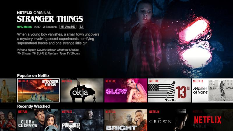 User personalisation in Netflix's interface.