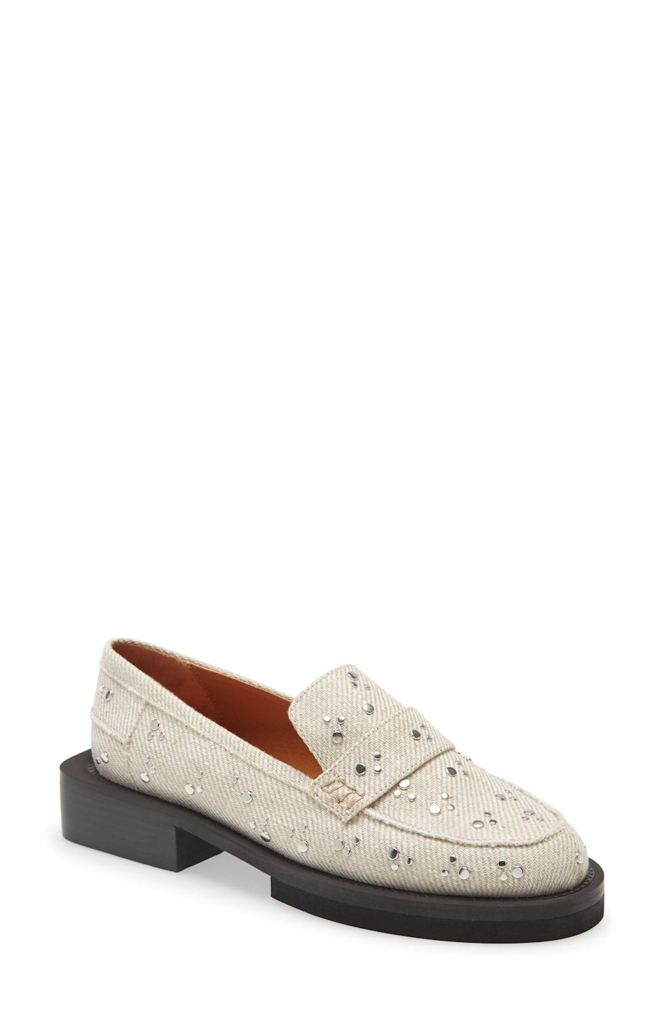 """<p><strong>GANNI</strong></p><p>nordstrom.com</p><p><strong>$267.00</strong></p><p><a href=""""https://go.redirectingat.com?id=74968X1596630&url=https%3A%2F%2Fwww.nordstrom.com%2Fs%2Fganni-studded-canvas-loafer-women%2F5616624&sref=https%3A%2F%2Fwww.elle.com%2Ffashion%2Fshopping%2Fg34741930%2Fnordstrom-12-days-of-cyber-savings-sale%2F"""" rel=""""nofollow noopener"""" target=""""_blank"""" data-ylk=""""slk:Shop Now"""" class=""""link rapid-noclick-resp"""">Shop Now</a></p>"""