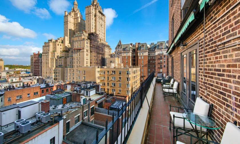 Found in a red-brick building called Park Royal, the two-bedroom unit expands to a 40-foot terrace overlooking the city.