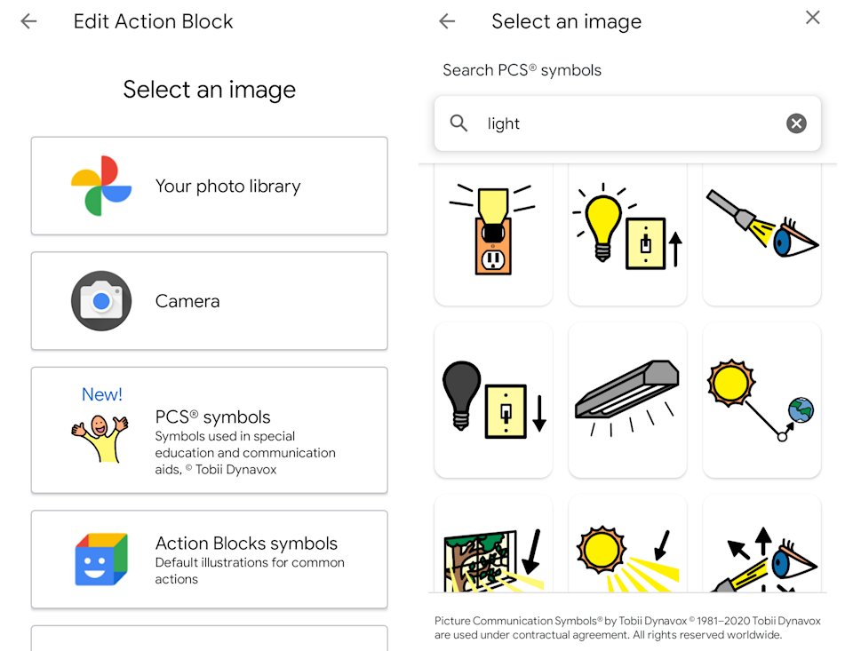 Tobii and Google interface for adding actions using pictorial icons.