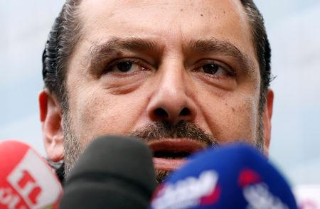 FILE PHOTO: Lebanese PM-designate Saad al-Hariri speaks to the media in front of the Special Tribunal for Lebanon in the Hague