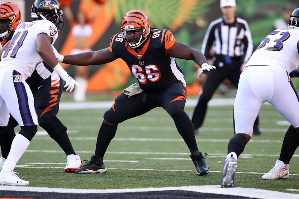 CINCINNATI, OH - NOVEMBER 10:  Trey Hopkins #66 of the Cincinnati Bengals looks on during the game against the Baltimore Ravens at Paul Brown Stadium on November 10, 2019 in Cincinnati, Ohio.  The Ravens defeated the Bengals 49-13.  (Photo by Rob Leiter/Getty Images)