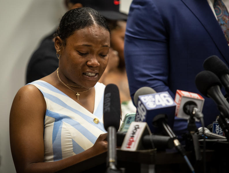 FILE - In this Monday, June 15, 2020, file photo, Chassidy Evans, the niece of Rayshard Brooks, speaks at a news conference held by members of Brooks' family, in Atlanta. The deadly police shooting of Rayshard Brooks in Atlanta soon after the city erupted in fiery demonstrations protesting police brutality have cast a harsh spotlight on cracks in Atlanta's reputation for Black prosperity in politics and business. (AP Photo/Ron Harris, File)
