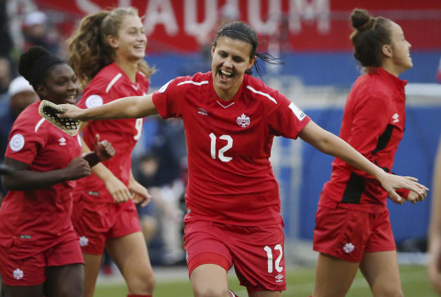 FILE - In this Oct. 14, 2018, file photo, Canada forward Christine Sinclair (12) celebrates at the conclusion of a soccer match against Panama at the CONCACAF women's World Cup qualifying tournament in Frisco, Texas. The Women's World Cup kicks off Friday, June 7, 2019, in Paris. Twenty-four teams will traverse France for the next month in pursuit of soccer's most prestigious trophy. (AP Photo/Andy Jacobsohn, File)