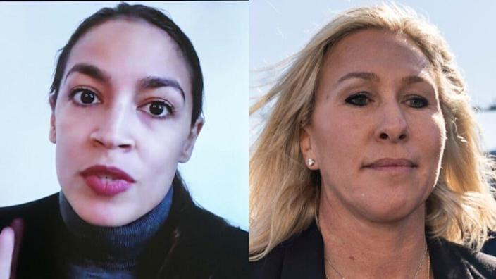 Democratic New York Rep. Alexandria Ocasio-Cortez (left) recalled her past life as a bartender when describing a recent conflict with Republican Rep. Marjorie Taylor Greene (right) on Capitol Hill. (Photos by Jim Lo Scalzo -Pool/Getty Images and Drew Angerer/Getty Images)