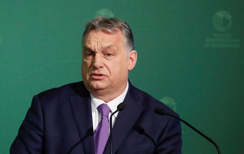 Hungarian Prime Minister Viktor Orban speaks during a business conference in Budapest on March 10. (Photo: Bernadett Szabo / Reuters)