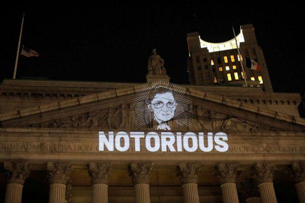 PHOTO: An image of Supreme Court Associate Justice Ruth Bader Ginsburg is projected onto the New York State Civil Supreme Court building in New York City after she passed away Sept. 18, 2020. (Andrew Kelly/Reuters)