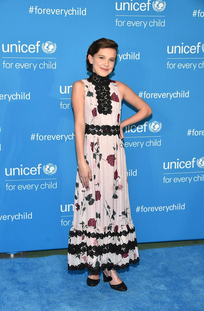 Millie Bobby Brown attends UNICEF's 70th Anniversary Event at United Nations Headquarters on December 12, 2016 in New York City.