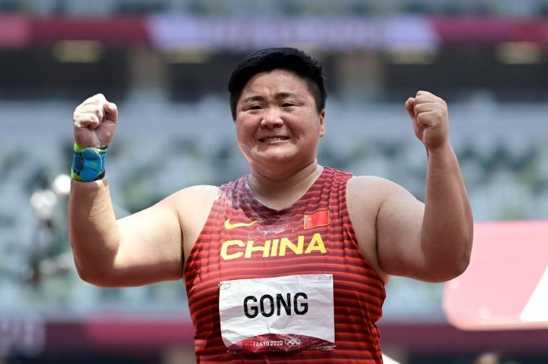 Shot putter Gong Lijiao won a first athletics gold of the Tokyo Gams for China