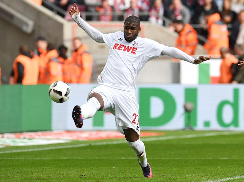 Anthony Modeste scored two for Cologne against Ingolstadt 04 in Cologne on October 15, 2016 (AFP Photo/Patrick Stollarz)
