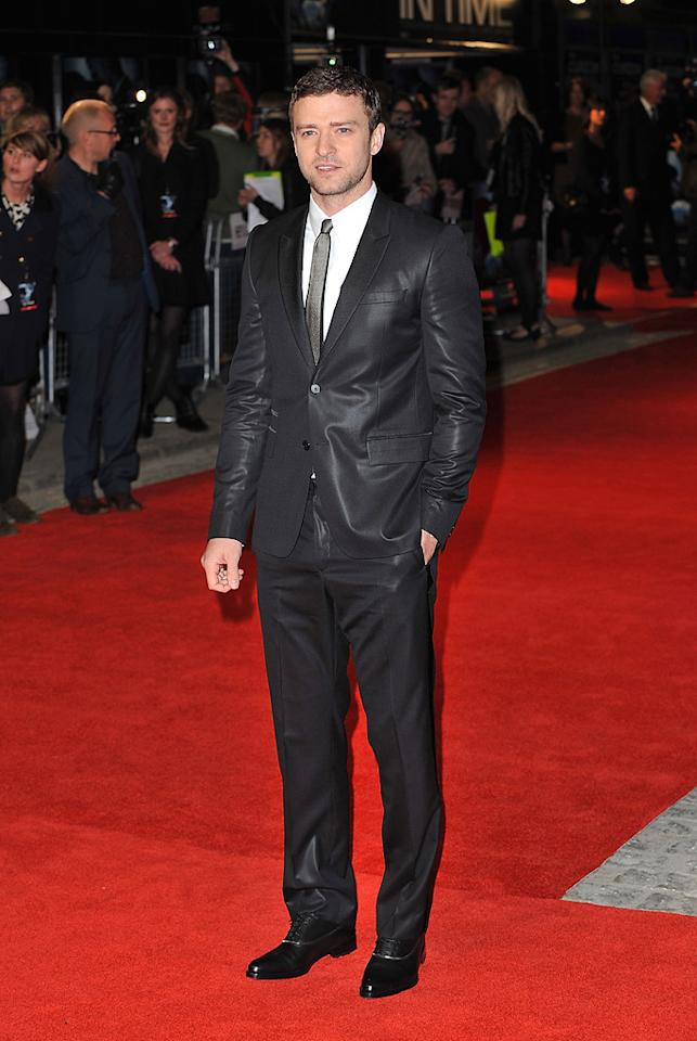 """<a href=""""http://movies.yahoo.com/movie/contributor/1802867309"""">Justin Timberlake</a> at the London premiere of <a href=""""http://movies.yahoo.com/movie/1810218430/info"""">In Time</a> on October 31, 2011."""