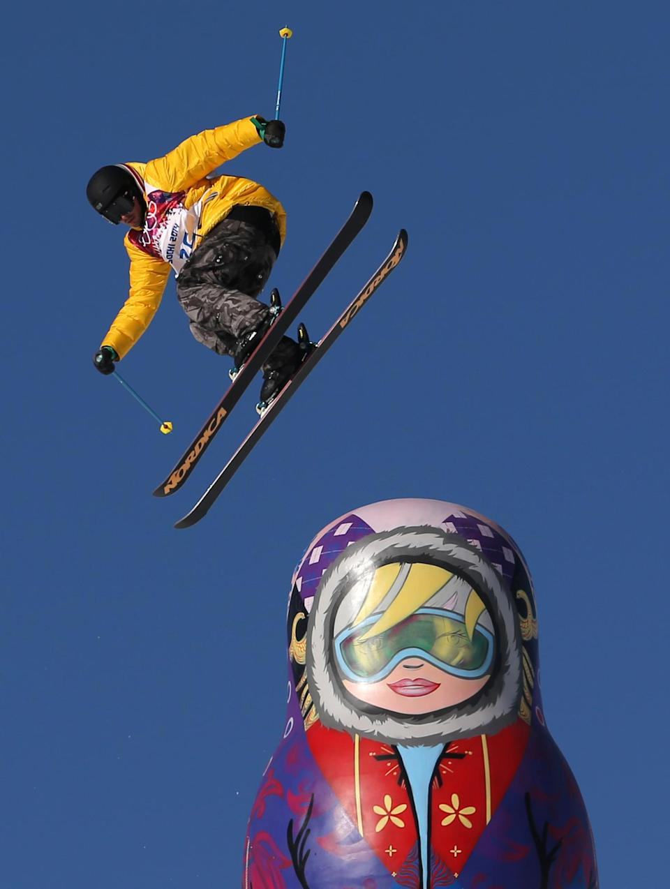 Germany's Benedikt Mayr competes in the men's ski slopestyle qualifying at the Rosa Khutor Extreme Park, at the 2014 Winter Olympics, Thursday, Feb. 13, 2014, in Krasnaya Polyana, Russia. (AP Photo/Sergei Grits)