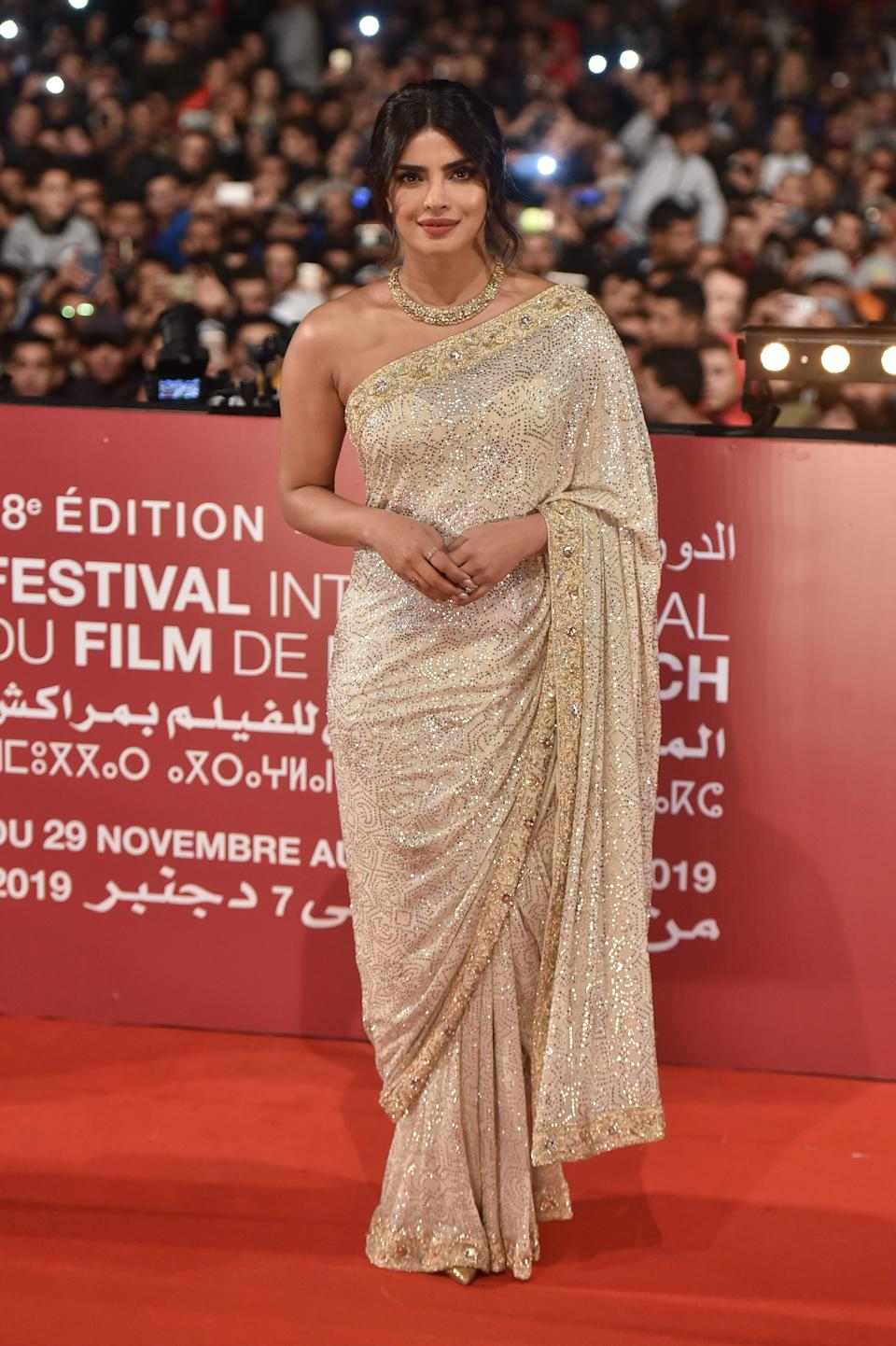 MARRAKECH, MOROCCO - DECEMBER 05: Priyanka Chopra attends her Tribute at Jemaa El Fnaa Place during the 18th Marrakech International Film Festival -Day Seven- on December 05, 2019 in Marrakech, Morocco. (Photo by Stephane Cardinale - Corbis/Corbis via Getty Images)