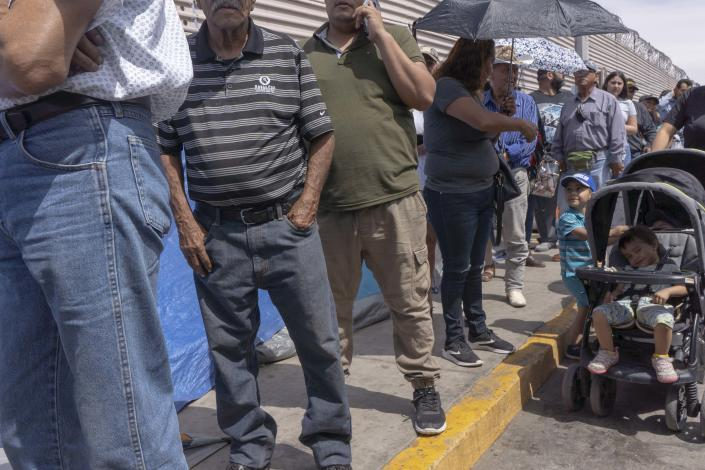 Asylum-seeking families with their children staying in tents housing waiting for their names to be called by Customs and Border Protection at the border in San Luis Rio Colorado, Mexico. Residents in the twin cities of San Luis, Arizona and San Luis Rio Colorado, Sonora remained a bit on edge over this potential scenario on Monday, although there were some more immediate concerns they had in the meantime.