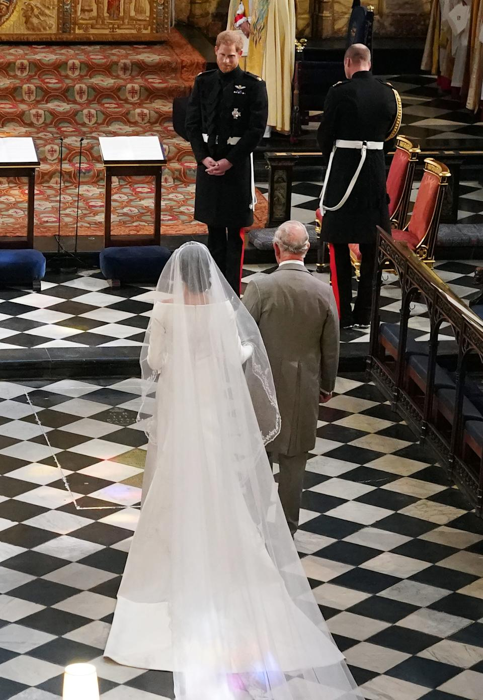<p>In the days before the wedding it became clear Meghan's father would not be able to attend - so Charles stepped in to walk her down the aisle. (Owen Humphreys - WPA Pool/Getty Images)</p>
