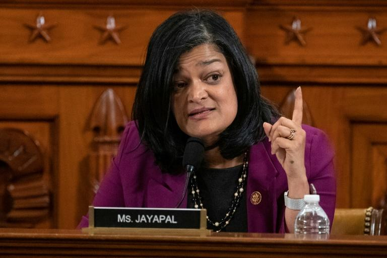 US lawmaker Pramila Jayapal is spearheading a resolution to press India on human rights in Kashmir (AFP Photo/Alex Edelman)
