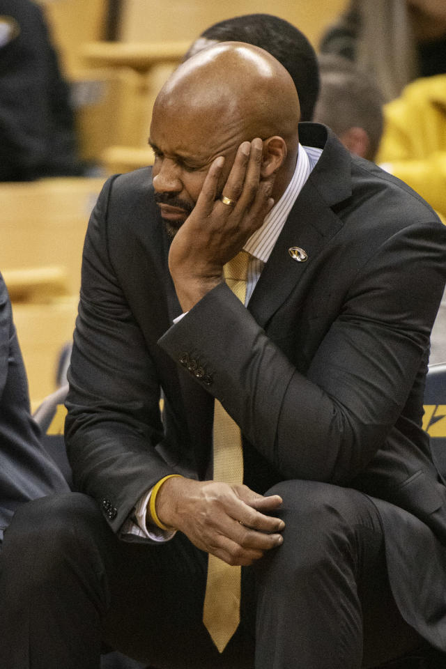 Missouri head coach Cuonzo Martin grimaces as he sits on the bench late during the second half of an NCAA college basketball game against Charleston Southern Tuesday, Dec. 3, 2019, in Columbia, Mo. Charleston Southern won the game 68-60. (AP Photo/L.G. Patterson)