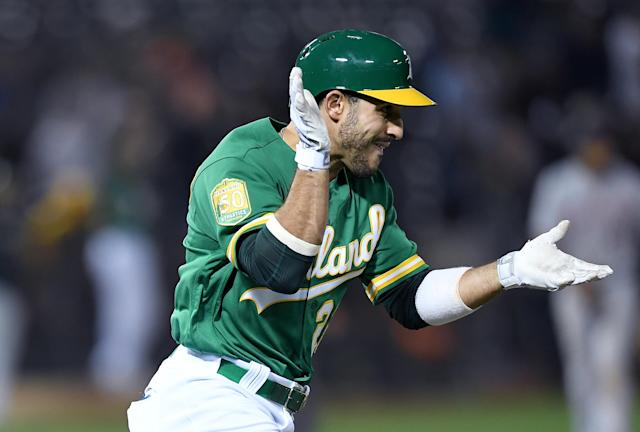 A's rookie outfielder Ramon Laureano had a throw for the ages on Saturday night against the Los Angeles Angels. (Getty Images)