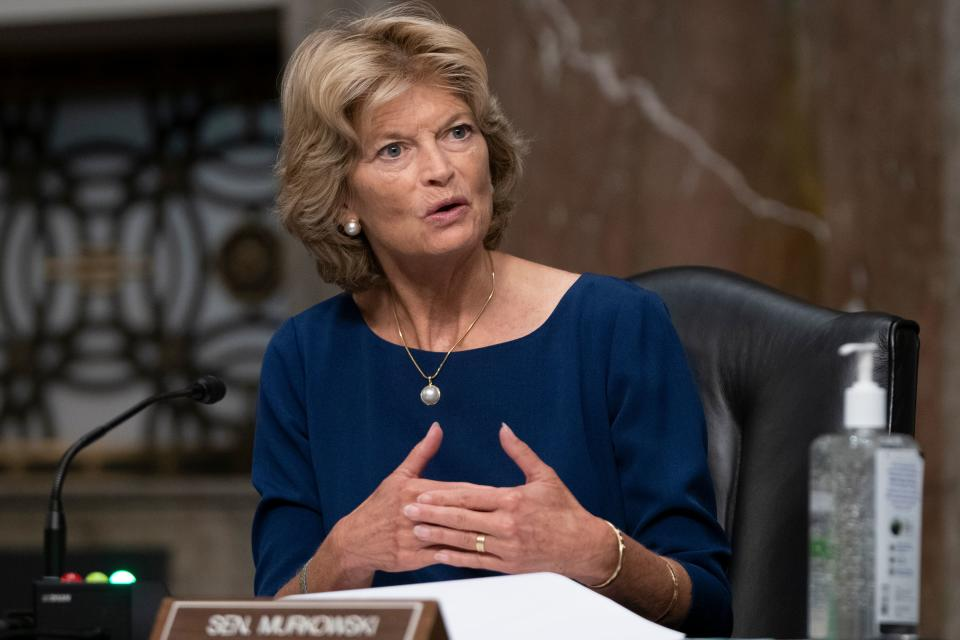 Senator Lisa Murkowski(R-AK) asks a question during a US Senate Senate Health, Education, Labor, and Pensions Committee hearing to examine covid-19, focusing on an update on the federal response in Washington, DC, on September 23, 2020. (Alex Edelman/AFP via Getty Images)