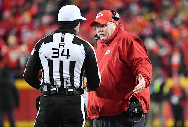 Sorry, Andy Reid, all the passive-aggressive complaints in the world aren't changing Dee Ford's offside penalty vs. the Patriots. (Getty)
