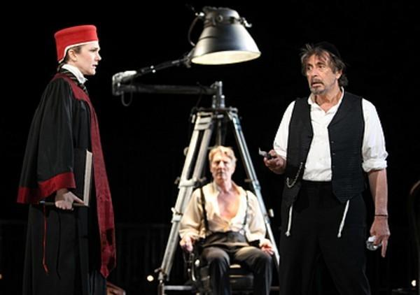 """From left: Lily Rabe, Byron Jennings and Al Pacino in Daniel Sullivan's 2010 Broadway revival of """"The Merchant of Venice"""""""