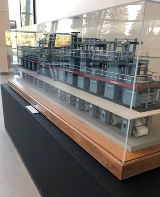 A scale model of the former Toronto Star printing press in the TOR1 data center