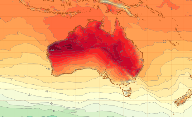 Picture of what Tuesday is forecast to look like at 5pm AEST.