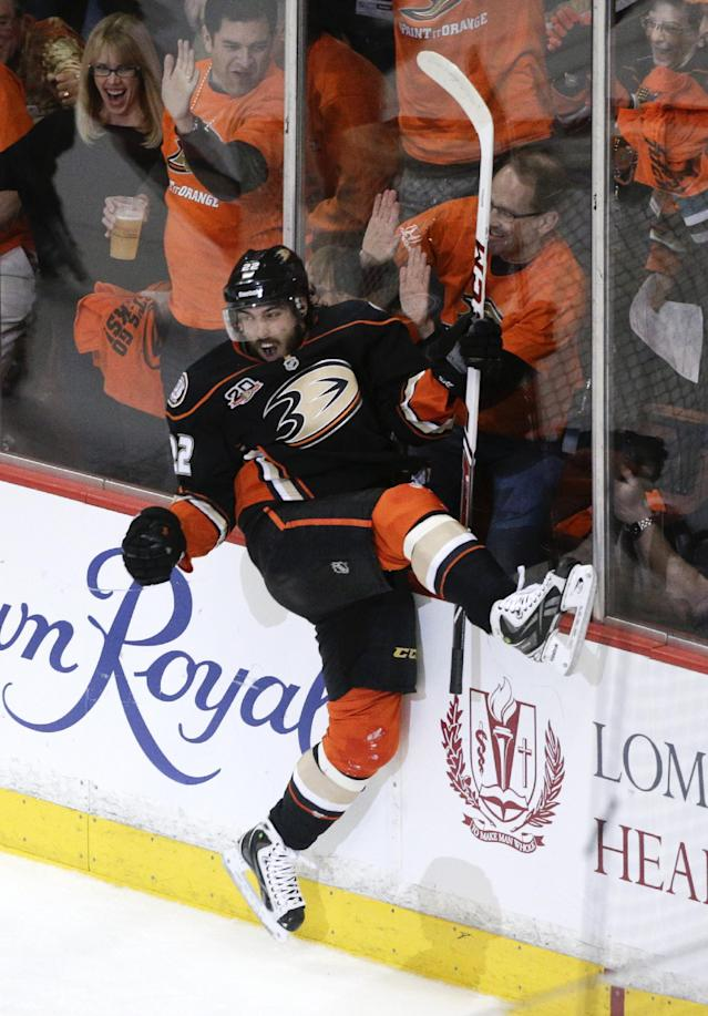 Anaheim Ducks' Mathieu Perreault celebrates his goal against Dallas Stars during the first period in Game 1 of the first-round NHL hockey Stanley Cup playoff series on Wednesday, April 16, 2014, in Anaheim, Calif. (AP Photo/Jae C. Hong)