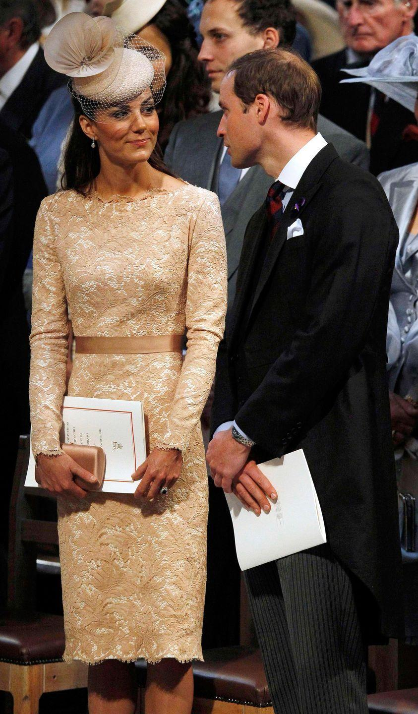 <p>Kate wore this champagne-hued lace Alexander McQueen sheath when she attended a national service of thanksgiving for the Queen's Diamond Jubilee at St Paul's Cathedral in London.</p>