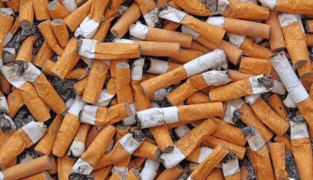 many cigarette butts for backgrounds