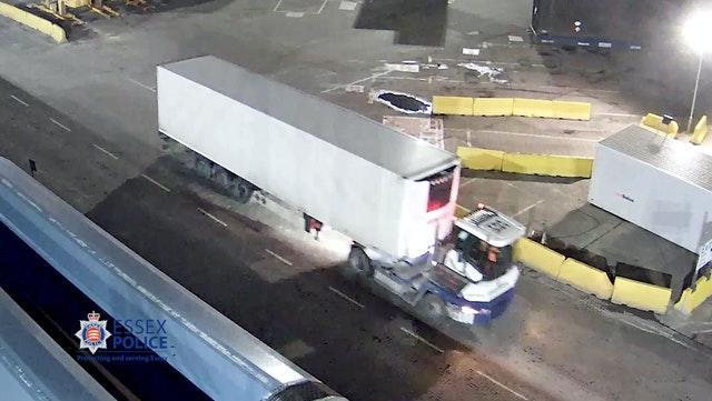 CCTV image of the trailer being taken off the ship at Port of Purflee
