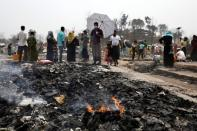 Fire is seen at the Rohingya refugee camp where a massive fire broke out two days ago and destroyed thousands of shelters in Cox's Bazar
