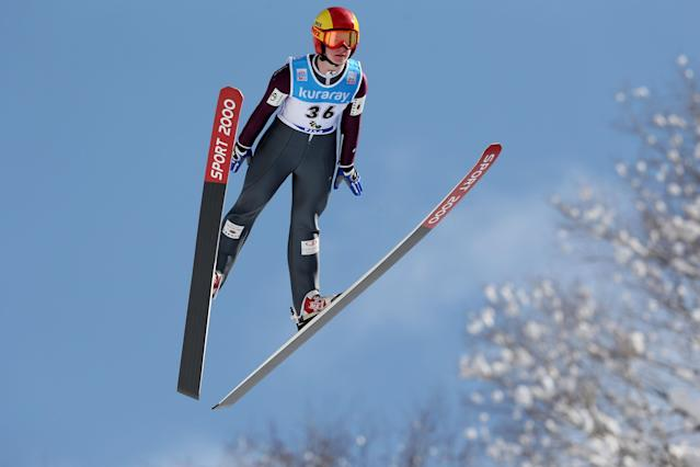 YAMAGATA, JAPAN - JANUARY 18: Taylor Henrich #36 of Canada competes in the Normal Hill Individual 1st round during the FIS Women's Ski Jumping World Cup Zao at Zao Jump Stadium on January 18, 2014 in Yamagata, Japan. (Photo by Chris McGrath/Getty Images)