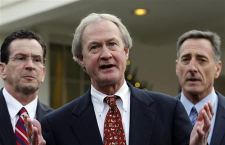 Newly elected governor Chafee speaks outside the West Wing of the White House in Washington