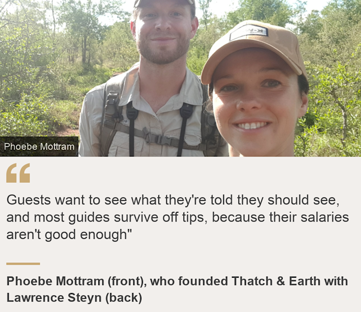 """""""Guests want to see what they're told they should see, and most guides survive off tips, because their salaries aren't good enough"""""""", Source: Phoebe Mottram (front), who founded Thatch & Earth with Lawrence Steyn (back), Source description: , Image: Phoebe Mottram (front) and Lawrence Steyn"""