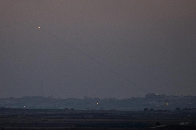 A rocket being launched from the Gaza strip into Israel, on July 10, 2014
