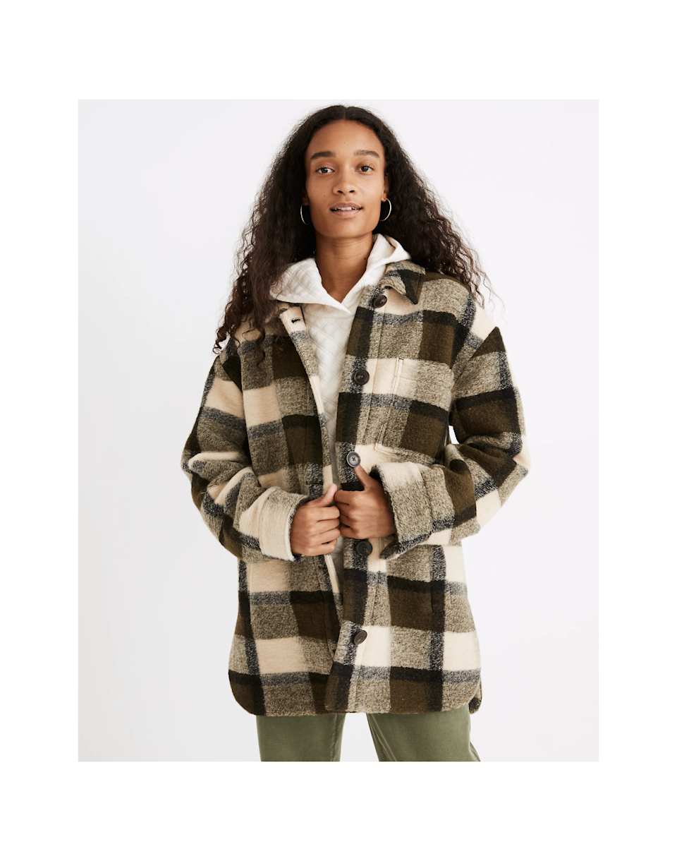 """<h2>Plaid Jackets</h2><br><br><strong>Madewell</strong> Belrose Shirt-Jacket in Maran Plaid, $, available at <a href=""""https://go.skimresources.com/?id=30283X879131&url=https%3A%2F%2Fwww.madewell.com%2Fplus-belrose-shirt-jacket-in-maran-plaid-NB682.html"""" rel=""""nofollow noopener"""" target=""""_blank"""" data-ylk=""""slk:Madewell"""" class=""""link rapid-noclick-resp"""">Madewell</a>"""